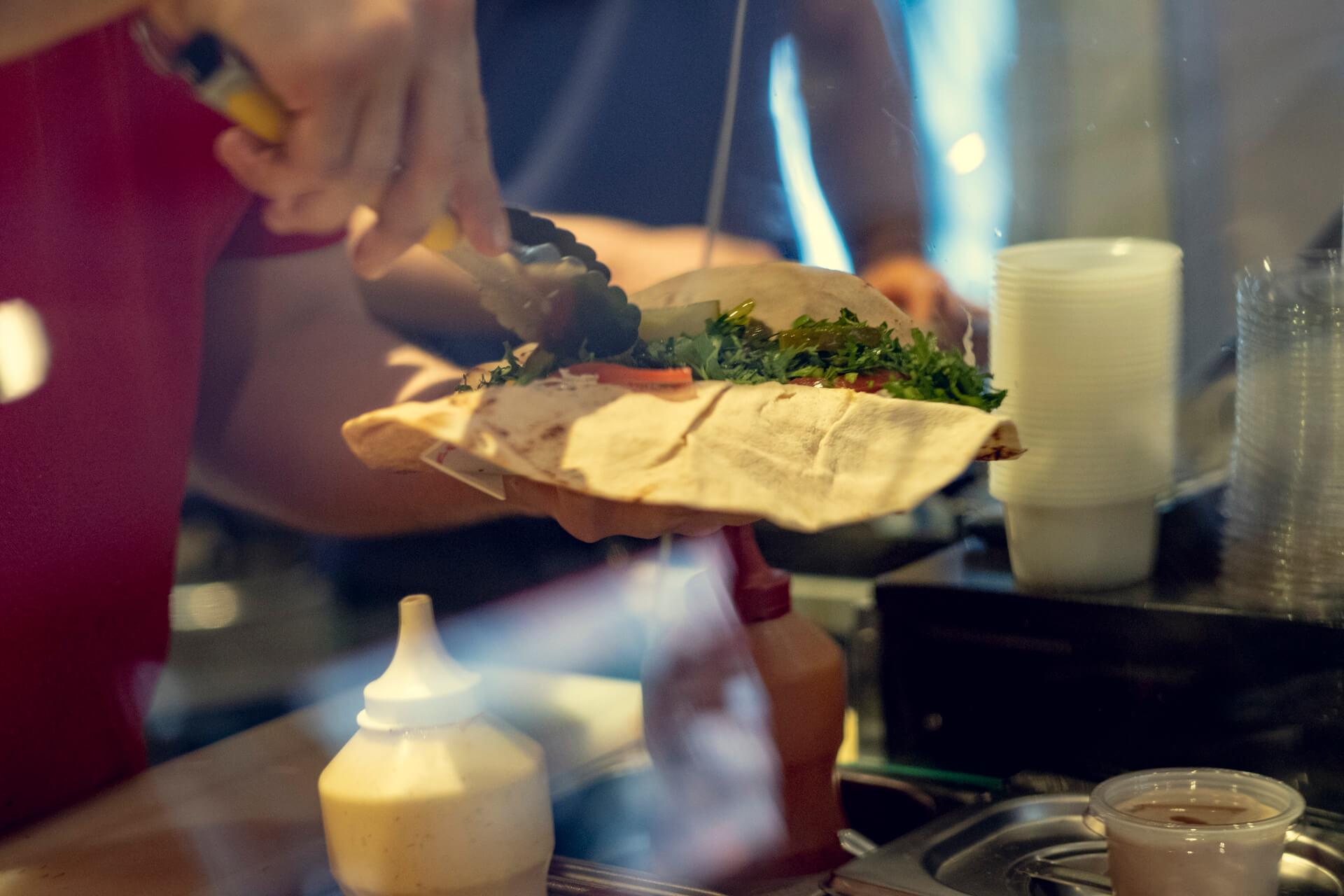 Kebab laget av Kokk Beirut Kebab på Grønlands Torg